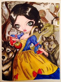 Loop-Garou:Blanche Neige (Snow White) from A Fantasy Art adventure by Jasmine Becket-Griffith. Coloured by Hazel Smithies