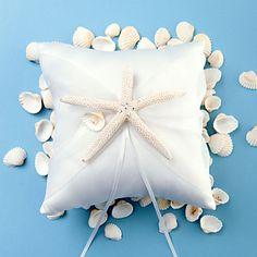 plage des étoiles de mer sur le thème de conception de satin blanc oreiller anneau – EUR € 9.79