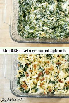 Healthy Creamed Spinach - Keto, Low Carb, THM S, Grain-Free, Gluten-Free - This is the best creamed spinach recipe ever. With 6 ingredients and 5 minutes of prep, you can have healthy creamed spinach at the dinner table in no time.