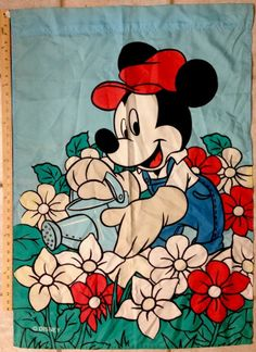 SOLD! $15.95 - Mickey Mouse Watering Flowers In The Garden Flag 29x42 Disney Cute