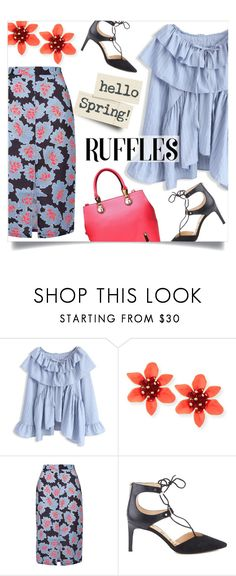 """spring flair"" by collagette ❤ liked on Polyvore featuring Chicwish, Glamorous, Sam Edelman and ruffledtops"