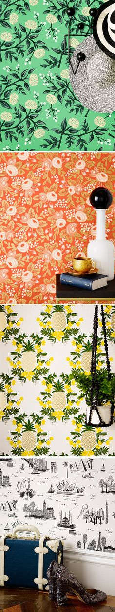 A few favorites from Rifle Paper Co.'s new wallpaper collection!