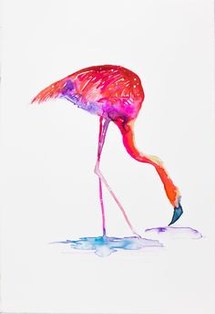 Untitled watercolor on archival Japanese Yupo paper, 15 x 10 cm CHF Shipping From Jamaica Included Chf, Jamaica, Flamingo, Japanese, Watercolor, Paper, Artist, Flamingo Bird, Negril Jamaica