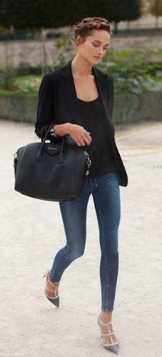 chic simplicity- french braid, black blazer & jeans