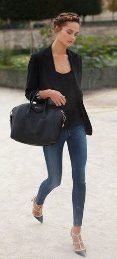 chic simplicity- french braid, black blazer & jeans