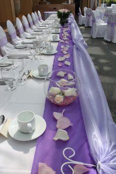 Purple wedding head table
