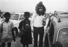 Jimmy Page of Led Zeppelin - monkey on head, India