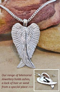 Angel Wings memorial pendant for holding a lock of hair, some cremation ashes, fur, burial soil or sand from a special place.  A very special way to keep a loved one close to your heart.