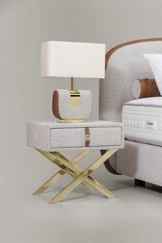 Birkin Side Table and Allure Table Lamp by Colunex - Modern Romantic Bedroom Lighting, Bedroom Bed Design, Master Bedroom, Queen Platform Bed, Bed Lights, Bassinet, Table Lamp, Birkin, Furniture