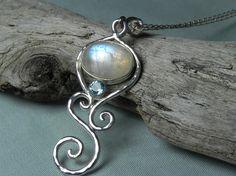 Moonstone Necklace  Rainbow Moonstone Blue by FantaSeaJewelry, $119.00