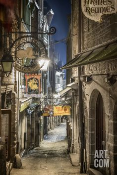 Mont Saint Michel La Grande Rue Photographic Print by Philippe Manguin at Art.com