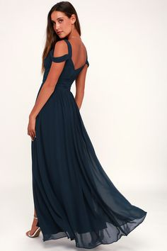 182833badf8 Ocean of Elegance Navy Blue Maxi Dress. Affordable Bridesmaid DressesCute  Prom ...