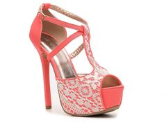 #lace #coral #heels