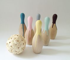 painted wooden bowling set