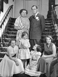 Queen Juliana with Prince Bernhard and their children:  Princesses Irene, Cristina, Margriet, and Beatrix