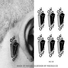 HC1059 3d 스위치 버튼 디자인 임시 문신 스티커 방수 가짜 문신 스티커 남성 여성 귀 맞춤 입체