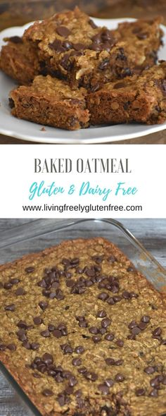 Easy and delicious Baked Oatmeal that is gluten and dairy free. It tastes like d… Easy and delicious Baked Oatmeal that is gluten and dairy free. It tastes like dessert but is healthy enough to be breakfast. Gluten Free Oatmeal, Gluten Free Pie, Gluten Free Treats, Gluten Free Desserts, Dairy Free Recipes, Diet Desserts, Gf Recipes, Easy Recipes, Recipies
