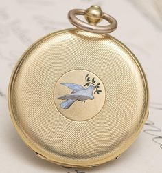 Antique mid-XIX 18K GOLD & ENAMEL Lady Pendant or Pocket Watch by Moulinie Geneve