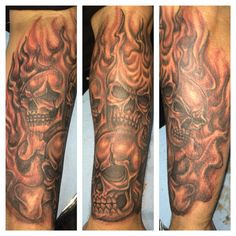 Flaming skull tattoo sleeve done by Ricky Garza in victoria tx. Got ink? Xtremeinktattoos