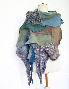 Hand knited shawl felt in few shades of green beige by ZOJKAshop, $50.00