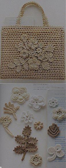Crochet Flower Patterns, Crochet Designs, Crochet Flowers, Cute Crochet, Irish Crochet, Knit Crochet, Crochet Handbags, Crochet Purses, Handmade Books