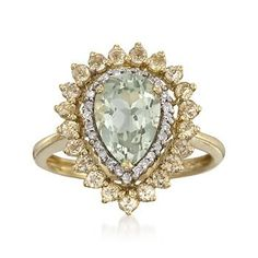 2.50 ct. t.w. Green and Lemon Quartz Ring With .10 ct. t.w. Diamonds in 14kt Yellow Gold