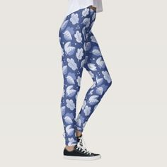 Blue and White Art Deco 1920s Style Leaf Pattern Leggings - elegant gifts gift ideas custom presents
