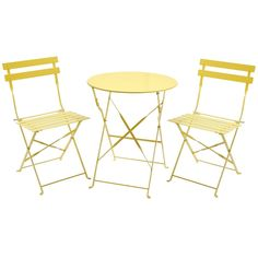 Charles Bentley 3 Piece Folding Metal Bistro Set Garden Patio Furniture Round Table & 2 Chairs - Yellow: Amazon.co.uk: Garden & Outdoors