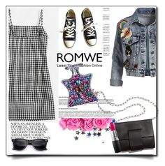 """""""Romwe Gingham Dress"""" by sally92 ❤ liked on Polyvore featuring MM6 Maison Margiela, Alice + Olivia, Converse, MAC Cosmetics and Bond No. 9"""