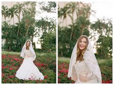 Lace wedding dress with sleeves on a bride at the Los Angeles Temple by photographer Brooke Bakken