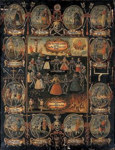 "Unknown Artist - ""Danse Macabre"" (Oil on wood) Germany ca. 18th century."