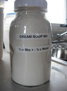 Homemade Cream Soup mix  2 c. dry milk 2 1/2 c. flour 1/4 c. chicken bouillon powder(I used THIS) 2 T. dried onion flakes   Add 1/2 c mix with 1 1/4 c water