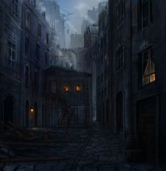 fantasy art night city slums - Google Search