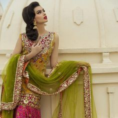 """SHIRIN HASSAN is proud to present our Signature Couture range of Blockprint-Gota work. """"This collection is very close to my heart, I… Pakistani Mehndi Dress, Pakistani Fashion Party Wear, Bridal Mehndi Dresses, Pakistani Wedding Outfits, Pakistani Dresses, Indian Fashion, Shadi Dresses, Party Wear Dresses, Traditional Dresses"""
