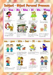 English worksheet: Subject - Object Personal Pronouns