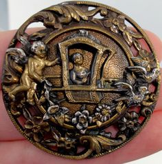 ANTIQUE PICTURE BUTTON~ WOMAN in SEDAN CHAIR Drawn by CUPID + BIRDS~ STUNNING!!