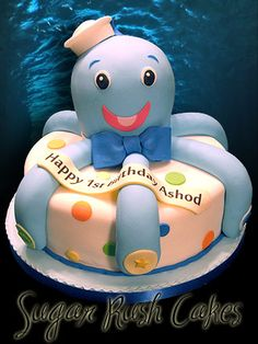 Octopus Birthday Cake Also posted under Baby: Showers, Gifts, Etc as a possible Diaper cake idea ; Cupcakes, Cupcake Cakes, Beautiful Cakes, Amazing Cakes, Octopus Cake, Ocean Cakes, Sculpted Cakes, Novelty Cakes, Occasion Cakes