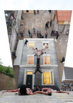 """Dalston House,"" an outdoor installation by Argentine artist Leandro Erlich in Dalston, England."