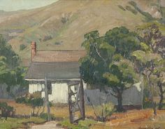 """Aaron Edward Kilpatrick (1872-1953 Los Angeles, CA). """"Cerro Alto Homestead'', signed lower right: Aaron Kilpatrick, numbered on canvas verso: 68, oil on canvas, 14'' H x 18'' W,"""