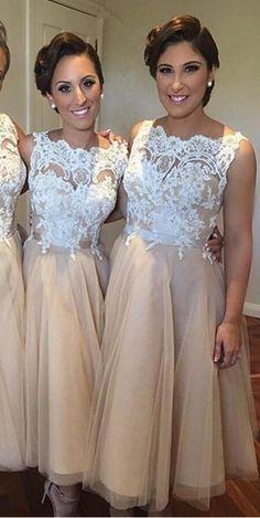 short bridesmaid dress, lace bridesmaid dress,Champagne bridesmaid dress,
