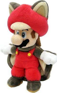 "Official Nintendo Super Mario Plush Doll 9"" Musasabi Mario Flying Squirrel"
