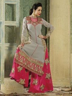 Increase the numbers of your admirers by wearing this bollywood diva Malaika Arora Khan vintage style salwar kameez suit.  Lovely embroidery works is done on the neck, sleeves and back. The Bottom is embroidered and made from chiffon fabric. You can get it stitched as per the image or be the fashion designer and get it stitched as per your style sense.