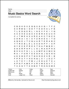 Learn Basic Musical Terms with These 10 Printouts Free Music Worksheets - Wordsearch, Crossword Puzzles, Coloring Sheets, Music Vocabulary, and Music Sub Plans, Music Lesson Plans, Music Lessons, Violin Lessons, Grammar Lessons, Writing Lessons, Music Word Search, Music Basics, Music Terms