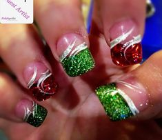Christmas colors nail art design