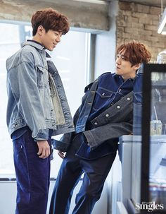 Dowoon and Sungjin; for Singles Magazine, March Park Sung Jin, Day6 Sungjin, Kim Wonpil, Bob The Builder, Young K, Pop Rock, Asian Boys, Pretty Pictures, Shinee