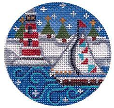"Winter Lighthouse Scene LH2 3"" Round Hand Painted Needlepoint Canvas | eBay"