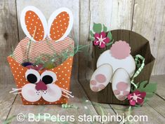 Easter Inspiration Day 5 Bunny Fry Boxes Fry Box, Easter, Bunny punch art, Stampin' Up! Easter Candy, Hoppy Easter, Easter Gift, Easter Treats, Easter Decor, Easter Eggs, Craft Stick Crafts, Paper Crafts, Box Bunny