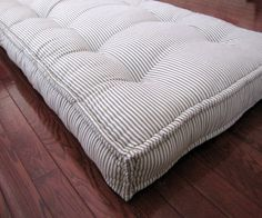 Custom Cushions Blue Ticking Stripe French Mattress Quilting Hand Tufted Daybed Mattress Daybed Mattressbench Seat