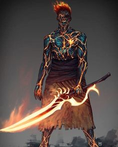 Carbonized guy by blackhood-art dnd characters, fantasy characters, fictional characters, fire Anime Art Fantasy, Dark Fantasy Art, Fantasy Artwork, Fantasy Rpg, Fantasy Katana, Fantasy Races, Fantasy Character Design, Character Design Inspiration, Character Concept
