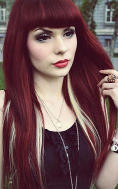 Maroon hair with blond underlight hairstyle